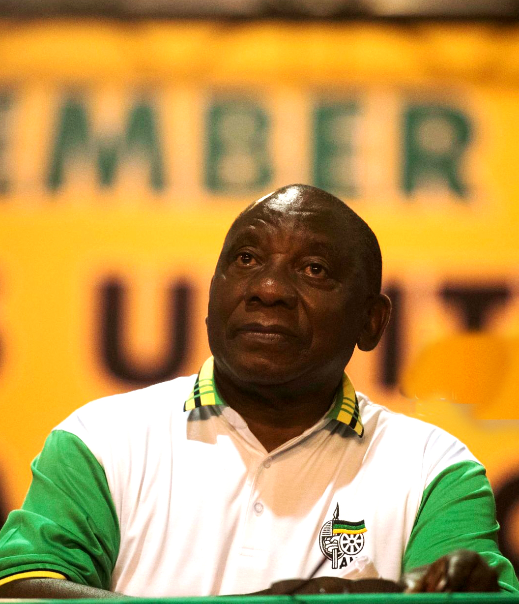 SOWETO, SOUTH AFRICA  DECEMBER 18: (SOUTH AFRICA OUT): New president of the ANC Cyril Ramaphosa  during the announcement of new party leadership at the 5th African National Congress (ANC) national conference at the Nasrec Expo Centre on December 18, 2017 in Soweto, South Africa. As ANC delegates supporters of the two presidential candidates were equally confident that their preferred choice will be announced as the new president of the ANC. The race was between Nkosazana Dlamini-Zuma and Cyril Ramaphosa the only two nominees for the party's top position. (Photo by Alet Pretorius/Gallo Images/Getty Images)